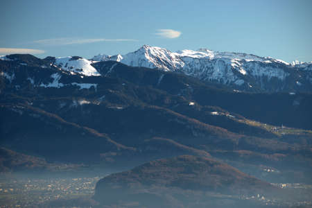 Austrian mountain panorama on a wonderful day spotted from Gais in Switzerland 18.12.2020