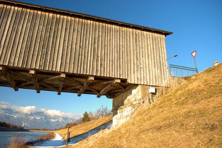 Historic bridge over the rhine river in Vaduz in Liechtenstein 7.1.2021