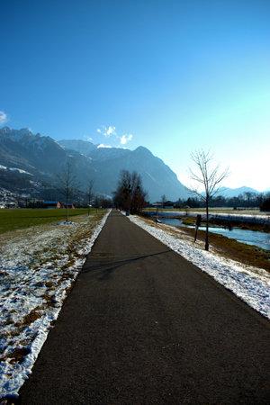 Rural scenery with a little river in Vaduz in Liechtenstein 7.1.2021