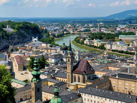 Amazing view over the center of Salzburg in Austria 10.6.2018