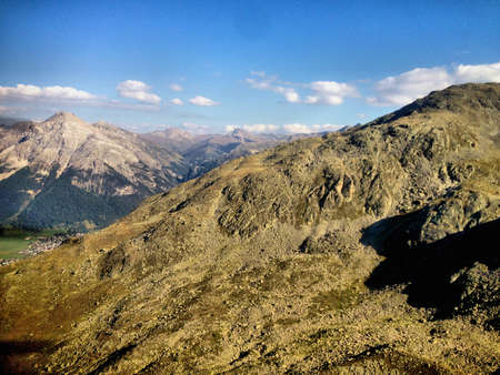 Alpine scenery seen from a small plane in Switzerland 31.8.2015