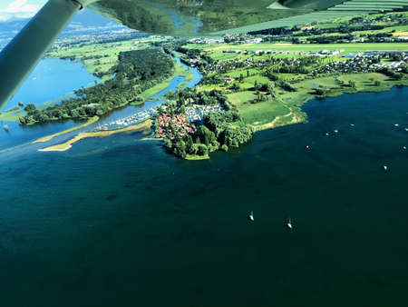 Flight with a small plane over the lake of Constance in Switzerland 17.7.2016