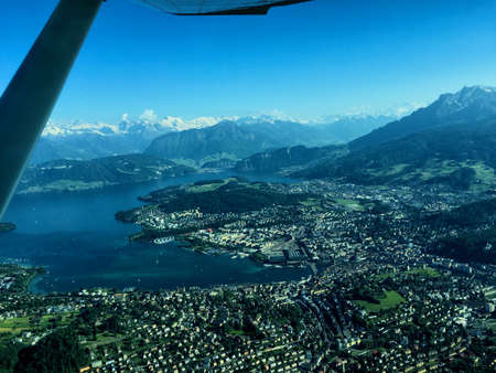 Flight over the lake of Lucerne in Switzerland 26.5.2017 Stock Photo