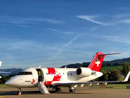 Challenger 650 Rega ambulance jet is parking on the apron at the airport Saint Gallen Altenrhein in Switzerland 17.10.2019 Publikacyjne