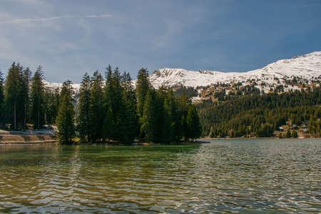 Majestic Heidsee in an alpine region near Lenzerheide in Switzerland 8.5.2021