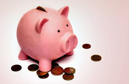pink piggy bank coins money