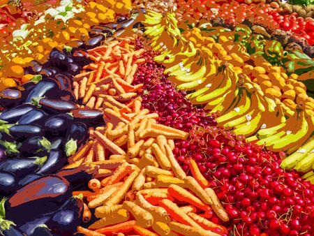 bananas carrots cherries organic harvest market