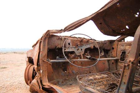 abandoned car: Abandoned Car Steering Wheel Stock Photo