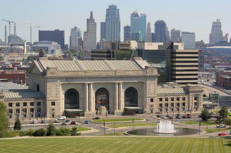 Kansas City, Missouri - July 10, 2010: Union Station in Kansas City, Missouri with Kasnas City skyline