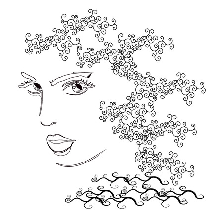 hairstyling: Woman s head fashion drawing design Illustration