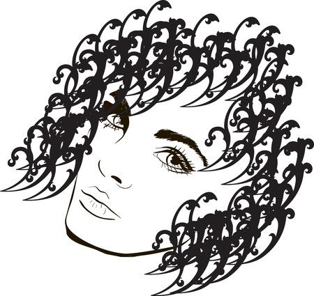 hairstyling: Mujer s dise�o de dibujo de moda cabeza