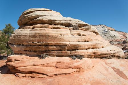 rugged terrain: Red Desert Rock Stock Photo