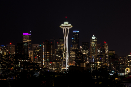 space needle: Space Needle, At Night