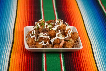 Plate of delicious Carne Asada Tots