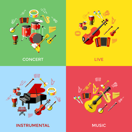 icons: music instruments icons. Vector colorful icons illustrations