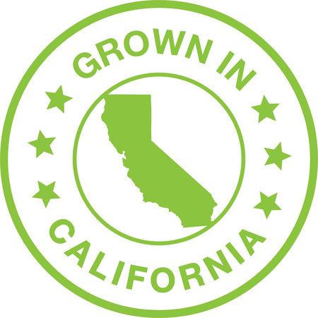 Grown In California Seal Stamp Illustration