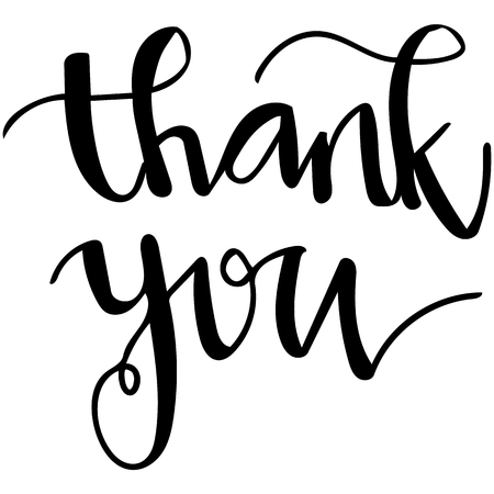 Vector hand written script of the words thank you