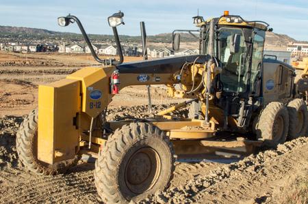 Castle Rock, Colorado  United States - October 28, 2018: Site Grader at Construction Site