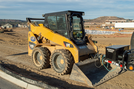 Castle Rock, Colorado  United States - October 28, 2018: Small Yellow Front Loader Tractor Dozer Editorial
