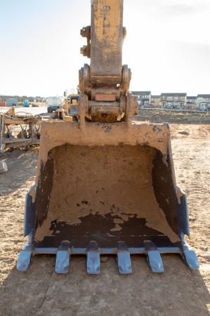 Excavator bucket at a new housing development in Castle Rock, Colorado