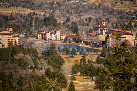 View of Broadmoor Hotel in Colorado Springs, Colorado Archivio Fotografico