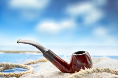 Pipe in a sea view backround