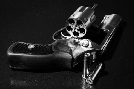 Revolver in black and white