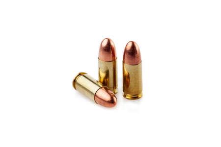 Three 9 mm bullet cartridges 版權商用圖片