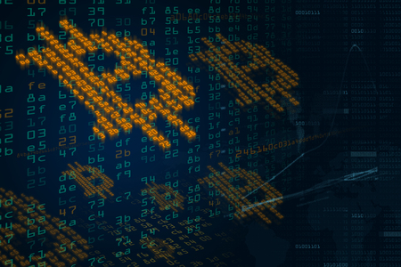 Cryptocurrency Bitcoin high-tech computer background