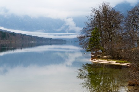 Beautiful view of shore, trees and surrounding mountains of foggy Bohinj lake in Slovenia Foto de archivo