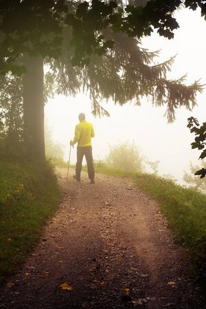 Young male hiker with walking poles walking away on a dirt path on a misty morning. Nordic walking, hiking, sports equipment and activity concepts