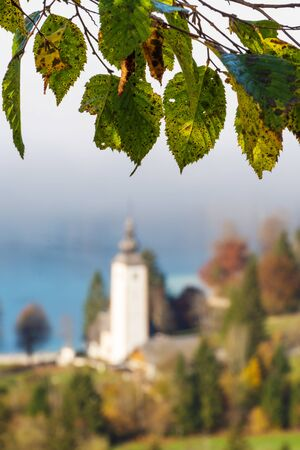 Beech tree branch with aging leaves and old catholic church by the lake surrounded with trees in background. Seasons, aging, nature and religion concepts