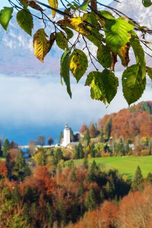 Aging beech tree branch and autumn landscape with lake and old catholic church in background. Seasons, aging, nature and religion concepts