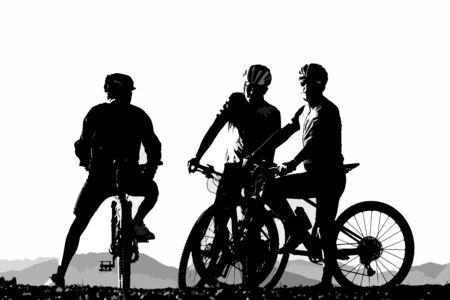 Silhouette de trois cyclistes masculins sur leurs vélos de montagne se reposant. Concepts de sports, d'activités et de cyclisme. Vecteurs