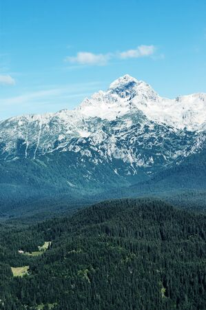 Beautiful view of snow covered Mount Triglav, the highest peak in Slovenian Julian Alps, from a distance on a bright sunny day, with hills and forest slopes in foreground