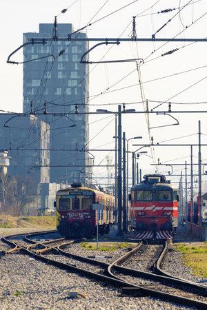 Ljubljana, Slovenia - March 17, 2020: Stopped trains at Ljubljana train station due to travel ban, Slovenia during the Coronavirus Covid-19 outbreak