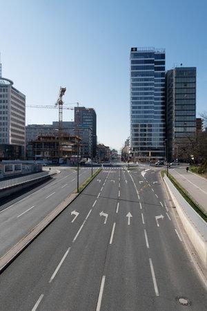 Ljubljana, Slovenia - March 17, 2020: Nearly deserted streets of Ljubljana downtown due to the Coronavirus Covid-19 worldwide pandemic. Redakční