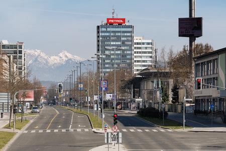 Ljubljana, Slovenia - March 17, 2020: Empty Dunajska street in downtown Ljubljana, Slovenia because of Coronavirus Covid-19 worldwide pandemic.