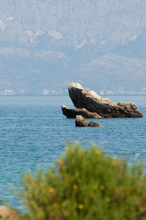 Rock in Adriatic sea near Peljesac peninsula with pine tree in foreground in Croatia. Travel, tourism, vacations, Adriatic sea and summer concepts