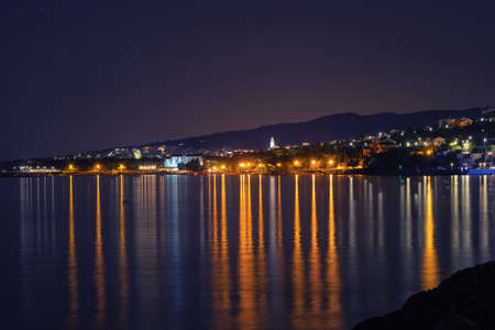 Novi Vinodolski town in Adriatic sea in Croatia at night. Travel, tourism, summer and vacation concepts