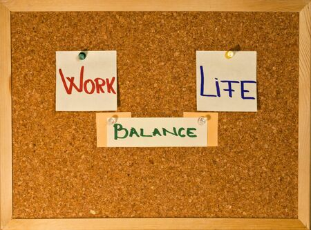 Post it notes on a wooden board representing the Work-Life Balance concept Stock Photo - 8246532