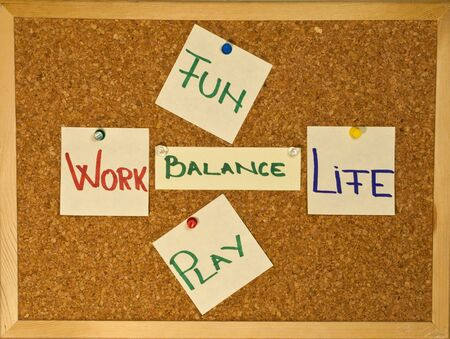 Post it notes on a wooden board representing the Work-Life Balance concept Stock Photo - 8246529