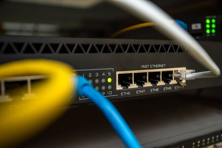 server where many internet cables. Worldwide data access. Telecommunications. Online. internet provider.