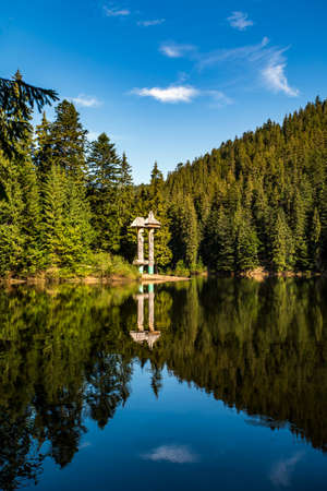 alpine lake synevir in the carpathians.