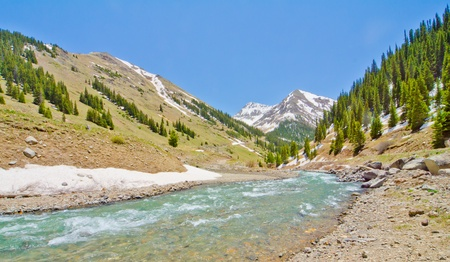 A Mountain Stream in Animas Forks, a ghost town, in the San Juan Mountains of Colorado photo