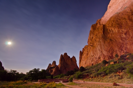 Nighttime Shot with Moon of the Rock Formations at Garden of the Gods in Colorado Springs, Colorado photo