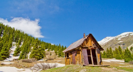 A Preserved House in Animas Forks, a ghost town in the San Juan Mountains of Colorado photo