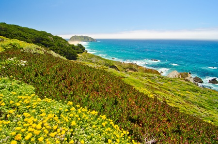 monterey: The California coastline along State Route 1, with Point Sur Historic Park in background