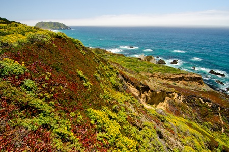 The California coastline along State Route 1, with Point Sur Historic Park in background photo
