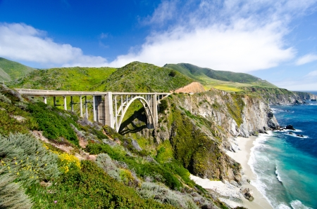 california state: Bixby Bridge, the most photographed bridge along the Pacific Coast